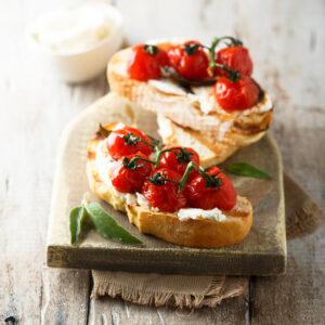 Mozzarella and tomato toast