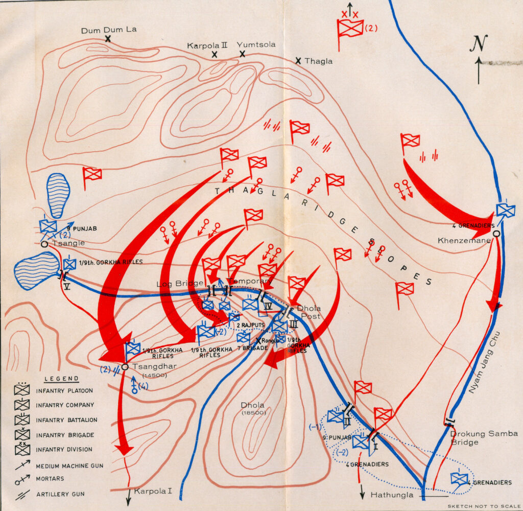 Map of the 1962 operations in the Namkha chu area