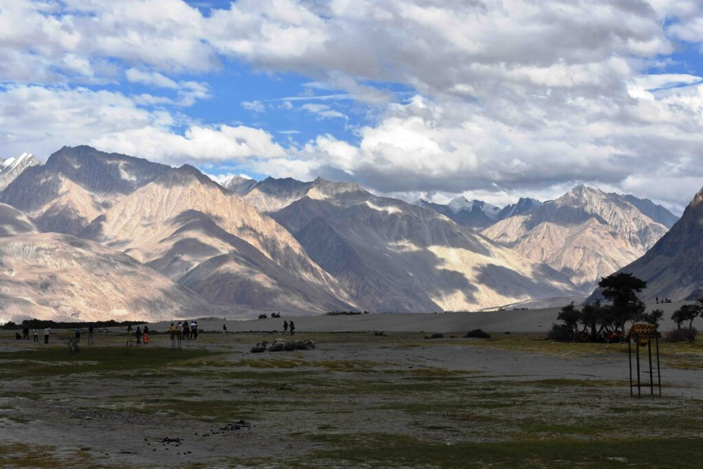 Nubra, one of the two main valleys, is about 9000 feet above sea level
