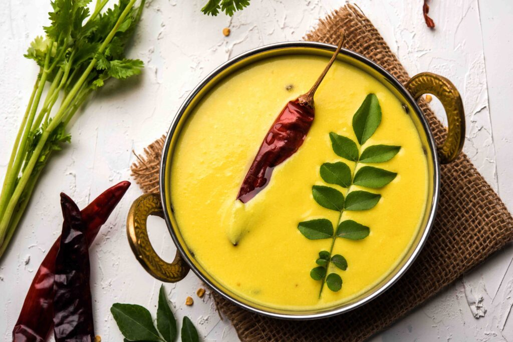 The simple kadhi resulted in a fusion of desi vegetarian and Burmese noodles