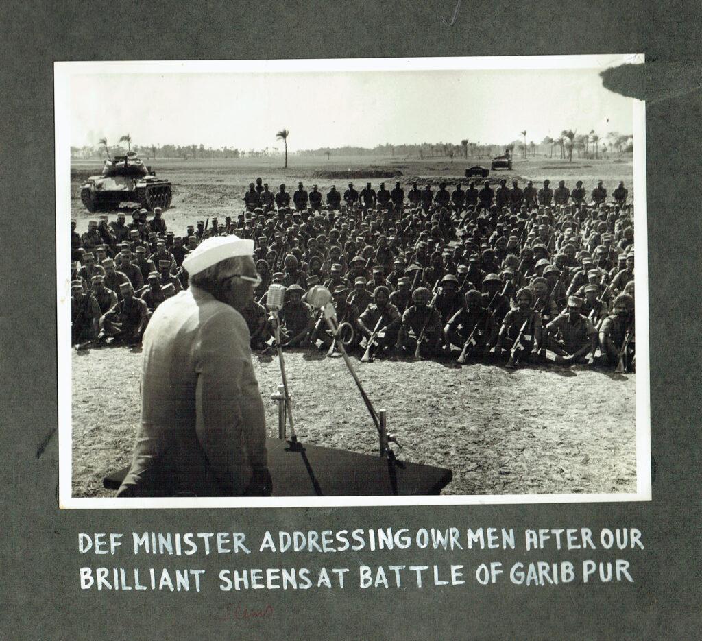 Defence Minister Jagjivan Ram addressing the troops after the Battle of Garibpur