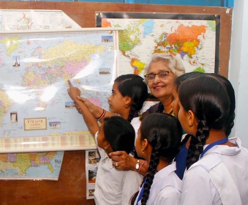 Lalita Arya with Girl Students