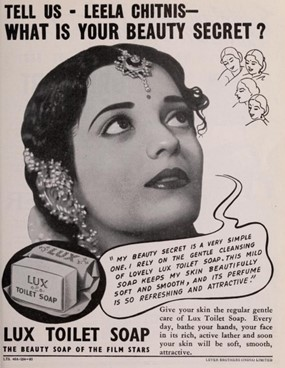 Leela Chitnis was the first star to endorse Lux in India