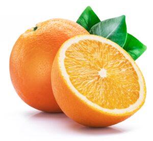 Orange fruit with orange slices and leaves isolated on white background.