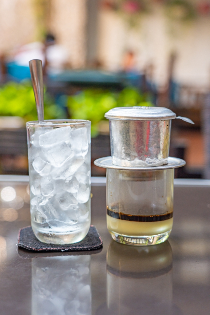 Vietnam styled dripping filter coffee with condensed milk