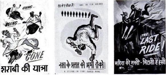 """Prohibition posters in Hindi illustrating the ill effects of drinking. From left to right, they read: """"A drunkard's journey;"""" """"One in ten drinks—stop the proliferation of alcohol;"""" and """"The feeling of drunkenness wipes out a man's sense of self."""" Courtesy, Mumbai Heritage on Twitter"""